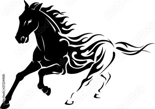 Photo Flaming Black Stallion Horse