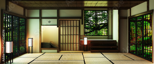 Pinturas sobre lienzo  Japan style Big living area in luxury room or hotel japanese style decoration