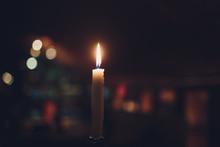 Candles Burning At Night. Whit...