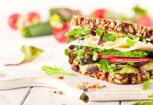 Fresh Vegetarian  Sandwich  With Cheese And Veggies.