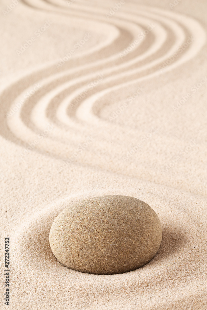 Fototapety, obrazy: Meditation stone on sand background. Concept for zen, harmony and purity.
