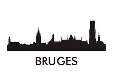 Bruges Skyline Silhouette Vector Of Famous Places