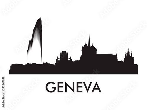 Fotografía Geneva skyline silhouette vector of famous places