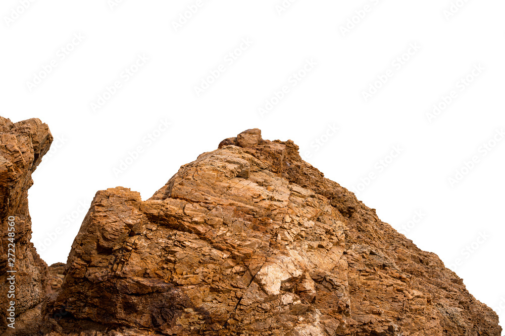 Fototapety, obrazy: detail surfaces stone brown on white background isolate
