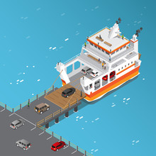 Isometric View Of Ferry Ship L...