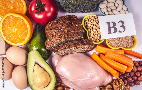 Nutritious products containing vitamin B3 (PP, niacin) and other natural minerals, concept of healthy nutrition Obraz na płótnie