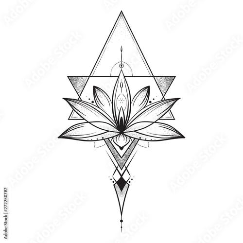 Lotus flower . Sacred geometry. Vector illustration isolated on white. Fototapete