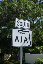 Highway A1A Road Sign A Famous Highway In Florida Which Runs Along The Atlantic Ocean Beaches And Symbolizes The Beach Lifestyle.