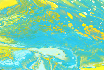 Fototapeta na wymiar abstract marbleized effect background. mint, yellow, white and green creative colors. Beautiful paint