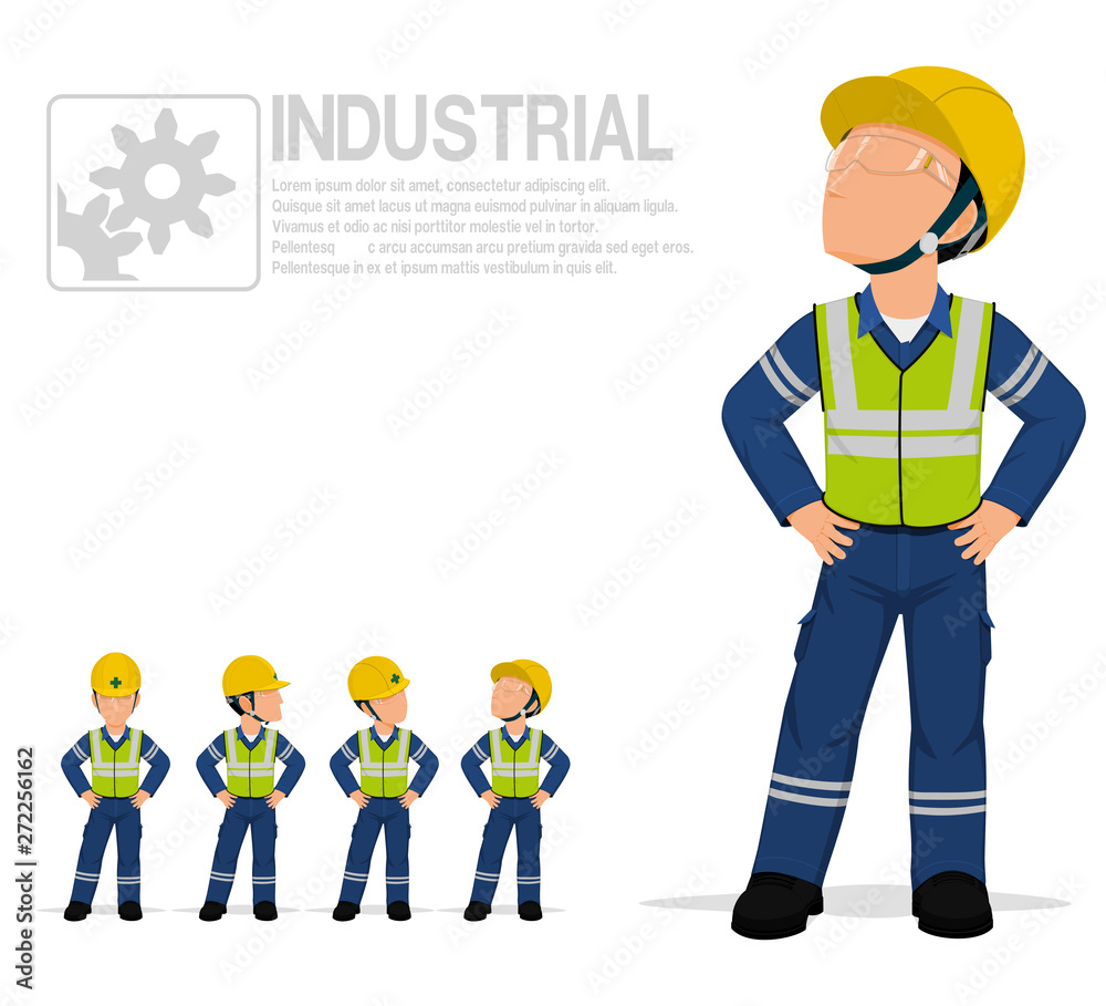 Fototapeta Industrial worker in reflective vest are posing akimbo on transparent background.