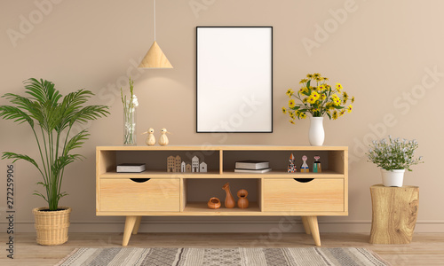 Valokuvatapetti Sideboard and blank photo frame for mockup on wall, 3D rendering