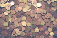 Pile Of Golden Coin, Silver Coin, Copper Coin. Thai Coins Baht, King Rama 9