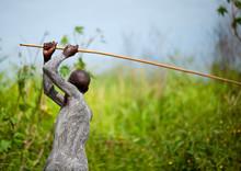 Surma Warrior Training With His Stick, Turgit Village, Omo Valley, Ethiopia