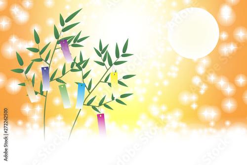 和風背景イラスト七夕祭り飾り伝統行事短冊笹の葉天の川星屑