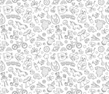 Baby Goods Store Seamless Background Pattern Newborn Products And Toys.
