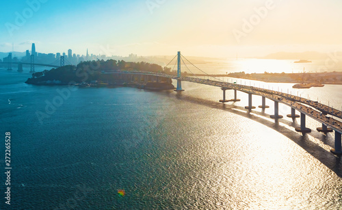 Aerial view of the Bay Bridge in San Francisco, CA Wallpaper Mural