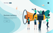 Business Concept Of Marketing For Website, Landing Page Template. Content Advertising And Business Promotion On The Internet.Vector