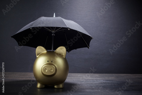 Gold Piggy bank with umbrella concept for finance insurance, protection, safe in Canvas Print