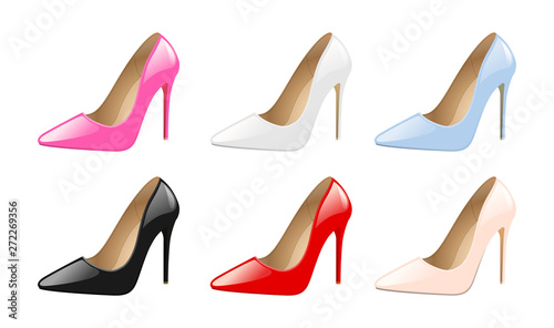 Stampa su Tela Set of elegant women shoes, colorful high heels, fashion trendy footwear, isolated on white background vector illustration