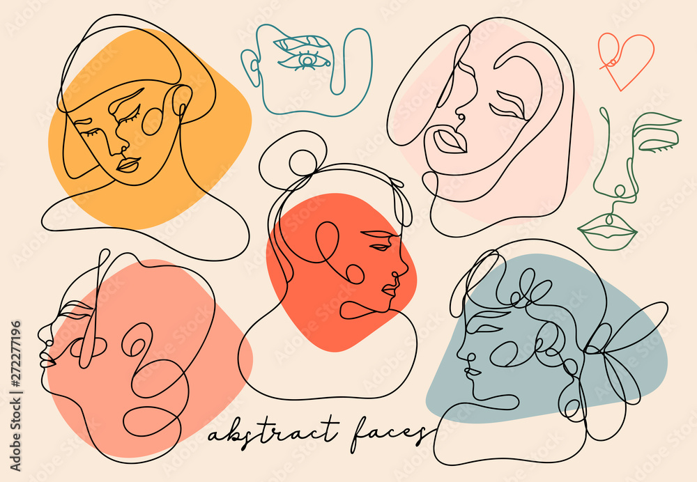 Fototapety, obrazy: Modern abstract faces. Contemporary female silhouettes. Hand drawn outline trendy illustration. Continuous line, minimalistic concept. Colored vector set. All elements are isolated. Pastel colors