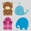 set of teddy bear with blue whale and elegant with pink present