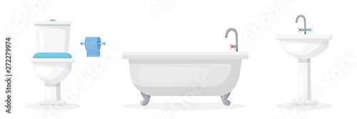 Bathroom attributes flat vector illustrations set Wallpaper Mural