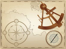 Vintage Compass And Bronze Sextant On The Background Of An Old Yellowed Navigation Map.
