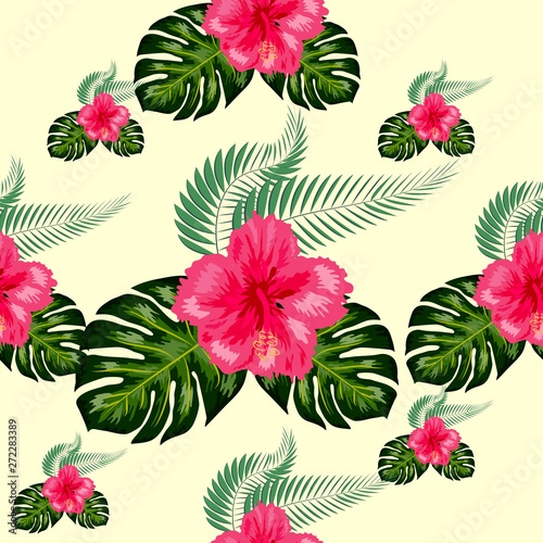 Tropical hibiscus flowers and palm leaves bouquets seamless pattern