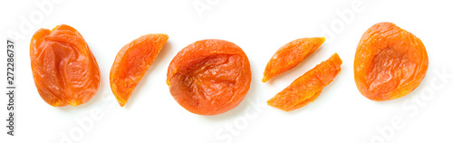 dried apricot composition isolated on white background - 272286737