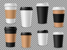 Paper Coffee Cups Set. White Paper Cups, Blank Brown Container With Lid For Latte Mocha Cappuccino Drinks Realistic Vector 3d Mockups