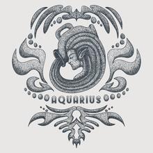 Aquarius Vintage Vector Illust...