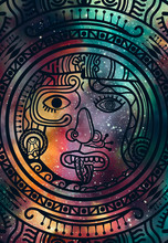 Abstract Mandala Inca Maya Civilizations Graphic Design Decorative With Star Field And Colorful Galaxy Background For Ancient Geometric Concepts