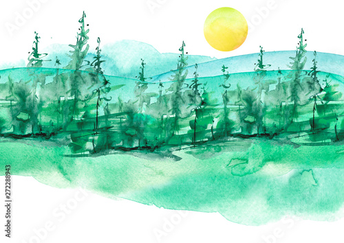 Wall Murals Green coral Watercolor painting, picture, landscape - forest, nature, tree. Green, summer trees, fir, pine, yellow sun. It can be used as logo, card, illustration.