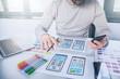 Leinwandbild Motiv Designers man drawing website ux app development.