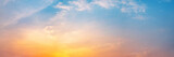 Fototapeta Na sufit - Dramatic panorama sky with cloud on sunrise and sunset time. Panoramic image.