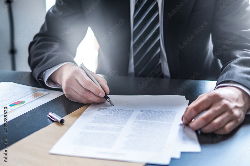 Fototapety, obrazy: Business man signing contract, making a deal.