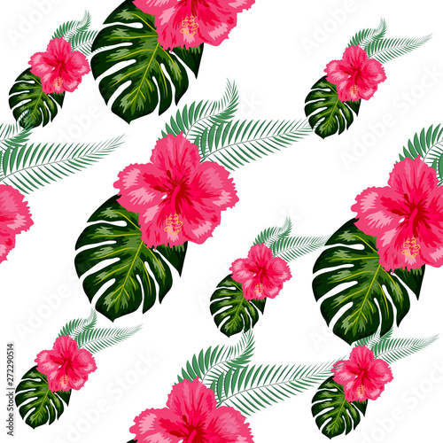 Seamless pattern of leaves monstera, flowers, tropical leaves of palm tree.