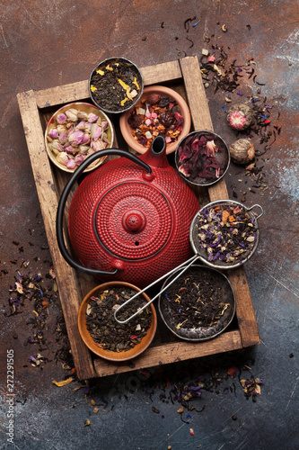 Set of herbal and fruit dry teas Canvas Print