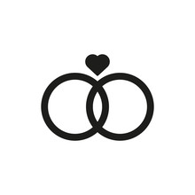 Wedding Rings Icon. Vector Illustration. Flat Design. Isolated.