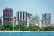Skyline Of The Lakeview Neighborhood From Lake Michigan In Chicago