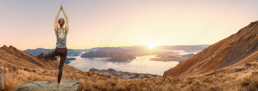 Fototapety, obrazy: Young woman practicing yoga in the nature, Female happiness, Young woman is practicing yoga at mountain. Young woman practicing yoga in roys peak track, New Zealand.