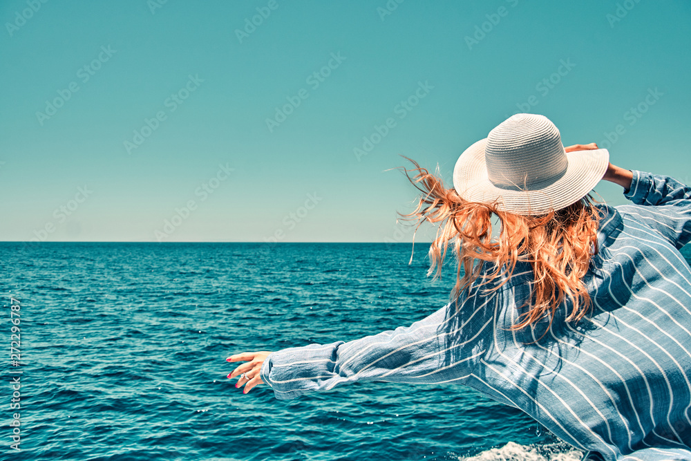 Fototapety, obrazy: Cruise ship vacation woman enjoying travel vacation at sea. Free carefree happy girl travel at ocean or sea. Woman on a yacht enjoying the beautiful vacation.