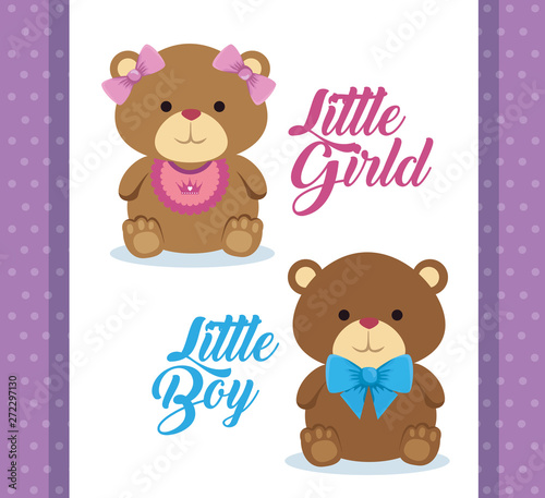 Wall Murals Bears teddy bears with little boy and girl celebration