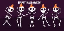 Happy Halloween Set Skeletons, Cartoon Skeleton Vector Bony Character