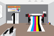 Wide Format Printer And Controller System In Gray Room With Media Rolls And Stuff And Already Printed Colors Bar For Testing