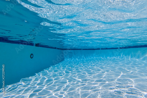 Photo Stands Asia Country Underwater view in clean refreshing swimming pool.