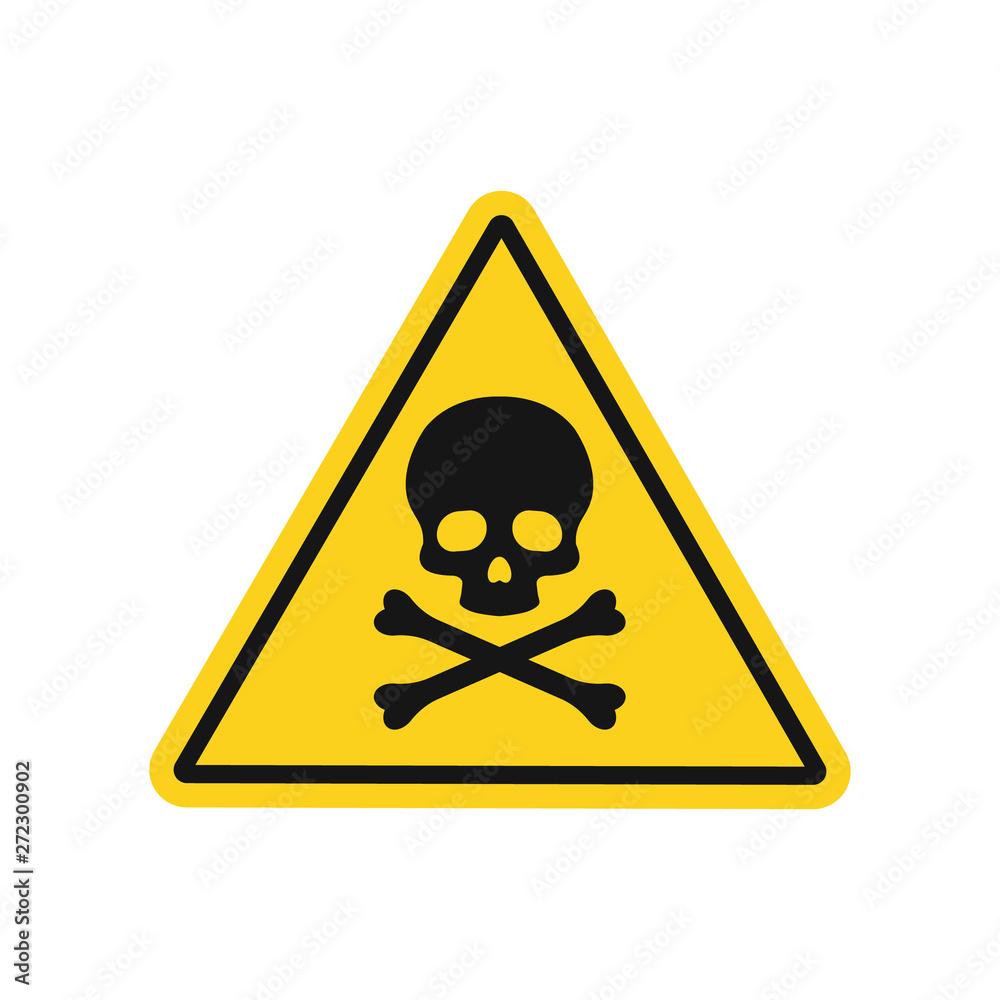 Fototapeta Skull and bones danger sign. Vector. Isolated.