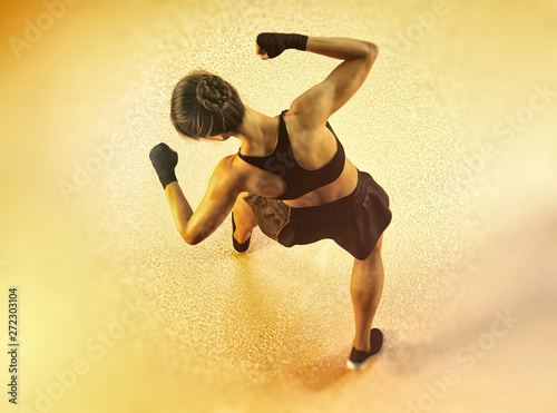 Valokuva  top view of fitness woman workout - 3d rendering