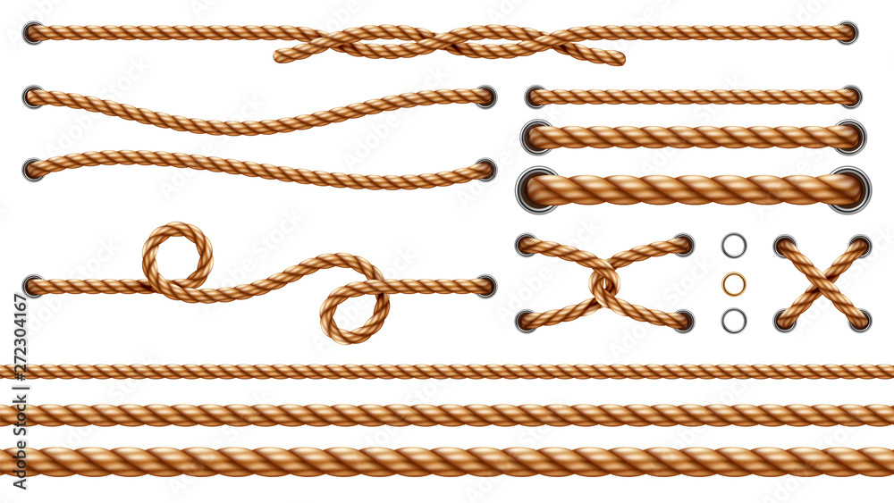 Fototapety, obrazy: Set of isolated straight ropes and tied cross strings, realistic navy thread through metallic holes. Intertwined navy 3d cord. Vintage brown looped fiber with knot and noose. Nautical twisted whipcord