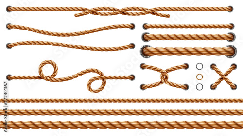 Set of isolated straight ropes and tied cross strings, realistic navy thread through metallic holes Fototapet